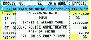 Ticket to Rush concert, 15 June in West Palm Beach
