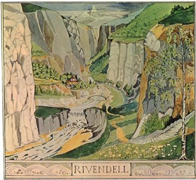 Rivendell, illustrated by J.R.R. Tolkien himself